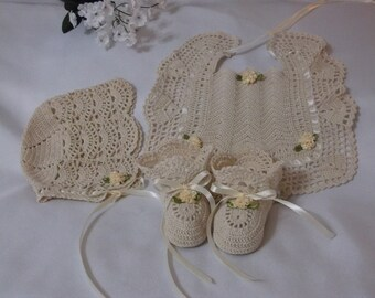 Handmade, Hand Crocheted Baby Bib, Bonnet and Booties for newborn baby or doll.  Ecru or antique white with matching ribbons and flowers.