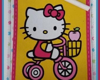 Roll Up Chalk Mat - Hello Kitty Bike- gift for her/ holiday / stoking stuffer / basket filler / birthday / party favor / art