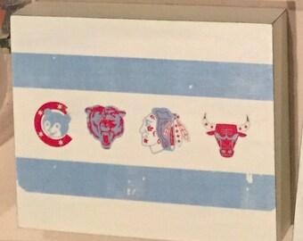 Chicago Sports Flag Wood Sign, handpainted, ink transfer, vintage, weathered, panel, block, Cubs, Bears, Blackhawks, Bulls, White Sox