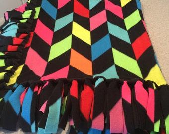 Neon Broken Chevron No Sew Fleece Tie Blanket