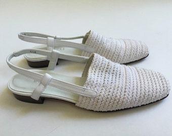 White Sling Back Sandal