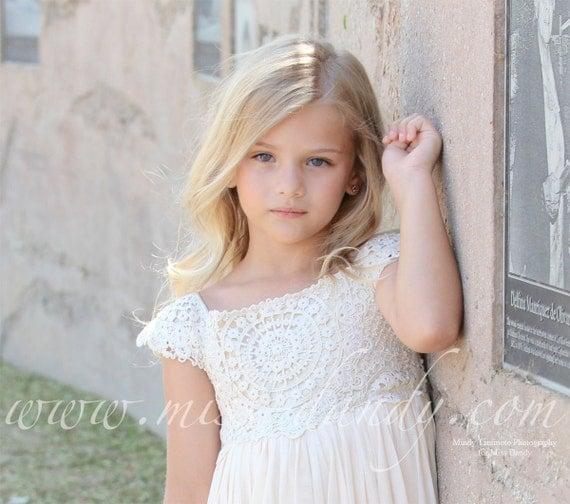 Sienna Dress- *In Stock Ready To Ship!* Beige / Cream Crochet Bohemian Style Flower girl Dress, Boho Romantic Flower Dress Wedding dress