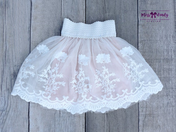 Light Pink Embroidery Flower Baby Tutu, Ivory Lace Baby Pettiskirt - lace tutu- Tutu- Lace Pettiskirt - baby tutu - Petti Skirt - Girls tutu