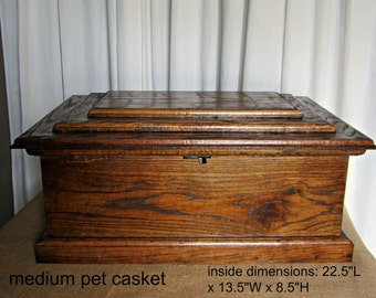 Wood Pet Casket- medium unlined
