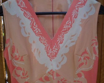 Psychedelic 60s Peach Dress