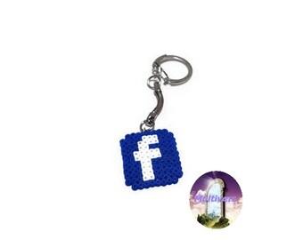 Keyring Facebook Logo Social Network [Pixel Art Hama Beads]