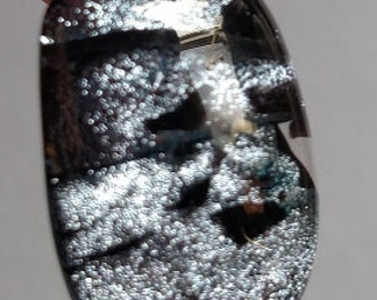 Silver Dichroic Fused Glass Pendant, Silver, Black Necklace