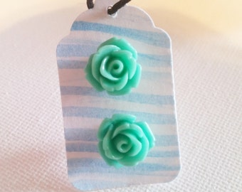 Rose Stud Earrings // Mint Green Rose Silver Stud Earrings