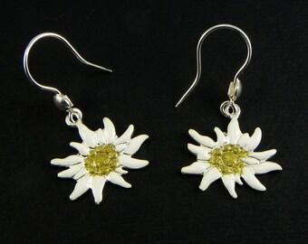 Edelweiss Silver Earrings enamelled - mountain passion