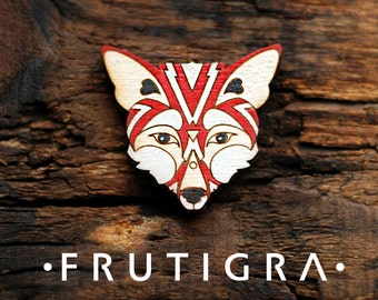 Wooden brooch fox , hipster jewelry