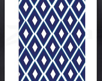 Geometric Blue Diamond Pattern Print - Great Statement Piece - LIMITIED EDITION
