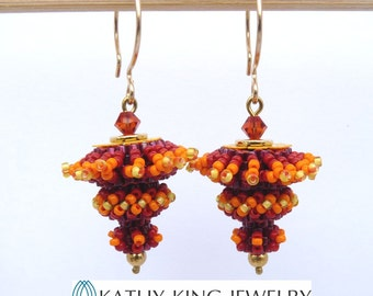 Spinning Top Beaded Bead Earrings Tutorial