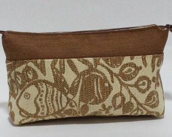 Cinnamon Jacquard Fabric Makeup Bag, Zippered Pouch, Cosmetic Bag, gift ideas for women