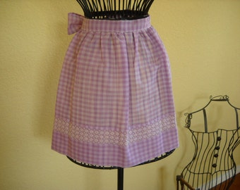 Vintage Handmade Lavender Gingham Half Apron with Decorative Stitching