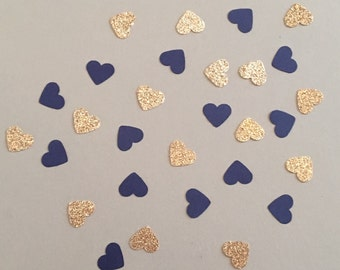 200 Navy and Gold Confetti Heart Confetti Glitter Confetti Shower Confetti Baby Confetti Wedding Confetti Birthday Confetti Bachelorette