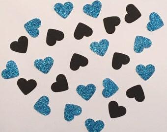 200 Blue and Black Confetti Heart Confetti Glitter Confetti Shower Confetti Baby Confetti Wedding Confetti Birthday Confetti Bachelorette