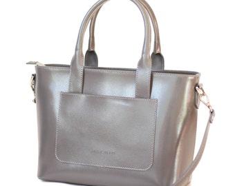 Grey calfskin leather-minimalist style handbag-women's shoulder bag