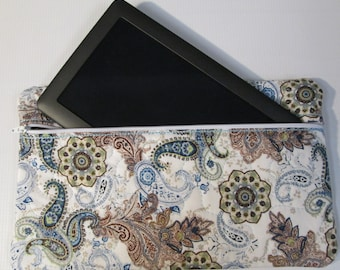 """Zippered Pouch, Quilted Tablet Case - """"French Paisley"""" #8899  Ready to Ship in 1 Business Day"""