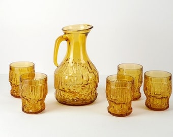ENESCO ITALIAN amber glass vintage set of 1 pitcher and 5 tumblers