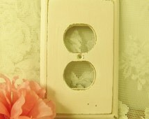 Shabby Chic Pink Outlet Cover, Pale Pink Cottage Chic Distressed Wood Outlet Cover, English Cottage Outlet Cover, Romantic Room Decor