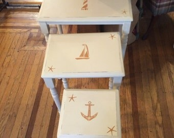 Nautical Vintage stacking snack tables