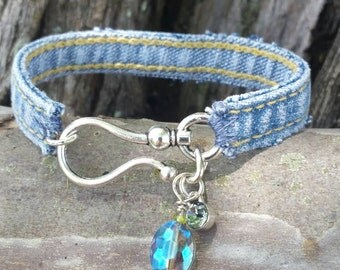 Denim Bracelet with Large Hook Closure and Charms