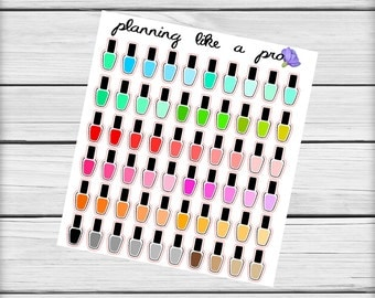 Nail Polish Beauty Stickers // 60 Planner Stickers