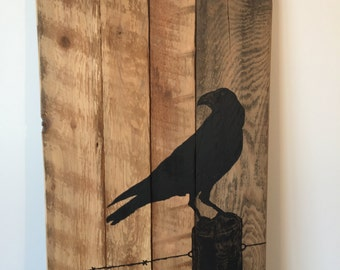 RECLAIMED BARNWOOD WALLART,  Crow on a Fence – Free Shipping