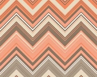 "25% Sale Studio e     ""Flourish""  Zig-Zag   Orange     Premium Cotton Fabric BTY"