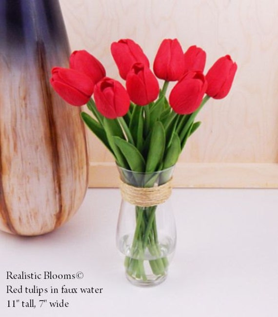 Red tulip tulips silk floral arrangement faux water