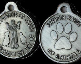 Saint Francis of Assisi Patron Saint Of Pets / Protect My Pet Pewter Color Dog Tag Charm