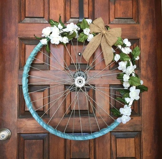 Bicycle Home Decor: Bicycle Wheel Wreath Rustic White Roses By