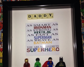 Daddy youre my favourite superhero picture frame with scrabble and Lego Batman Superman Hulk Ironman DC and Marvel Fathers Day gift