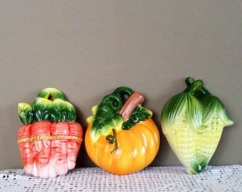 Vintage vegetable plaques, ceramic wall hangings, kitchen art, pumpkin plaque,mid century decor