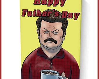 Ron swanson Parks and recreation fathers day  card 12.5cm x 19cm