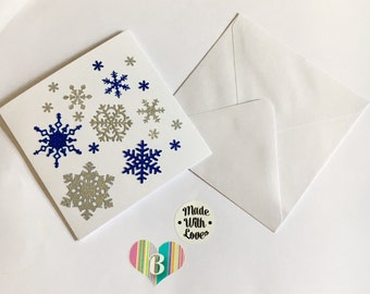 Christmas Snowflake Card, White And Blue Glitter, Handmade