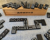 Vintage game Domino game Vintage wooden pieces domino game full set 55 pieces Wooden box Family game Old game Interesting game Gift idea