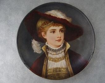 Handpainted Elegant Portrait Plate Woman signed ULRICH Vienna c. 1860s Porcelain