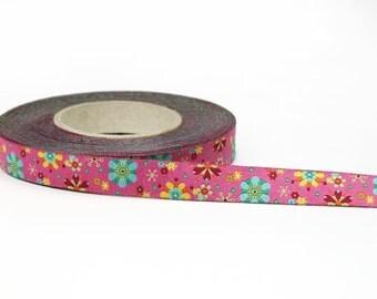 1/2 inch pink floral woven jacquard ribbon- Farbenmix - 12mm - Mandalablumen