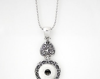 Item# 0277--- 18mm/20mm Snap Jewelry Scrolled Pendant w/ Upside Down Heart Necklace w/Chain (FREE Shipping Coupon Code in Description)