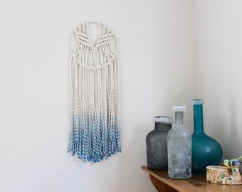 Julia - Evening Blue Ombre Dip Dyed Macrame Hoop Wall Hanging