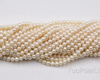 4-5mm white freshwater fine pearl, genuine near round pearl beads, loose beaded craft supplies, real natural pearls, FR220-WS