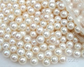 AA+ 7-7.5mm round pearls, white round loose pearl beads, genuine freshwater half drilled hole pearls, lustrous loose round pearl, FLR7075-W