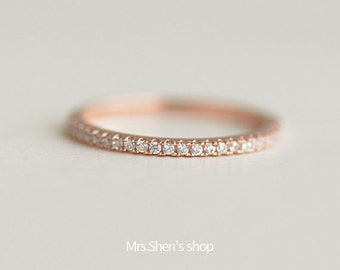 Mrs.Shen 925 Sterling Silver Classic exquisite Rose gold diamond ring,minimalist,gift,unique,simple,classic ring,crystal,fashion ring,woman