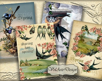Spring and birds - digital collage sheet - printable download - gift tags - set of 8