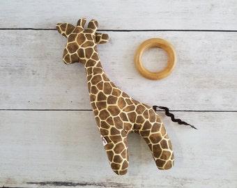 Small Giraffe Toy | Soft Baby Rattle | Stuffed Giraffe Toy | Giraffe Teething Toy | Stuffed Rattle | Wood Teether