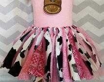 Pink cowgirl Western scrap tutu, cowgirl Western fabric tutu, first birthday tutu dress, rodeo queen tutu, Western tutu, cowgirl tutu dress