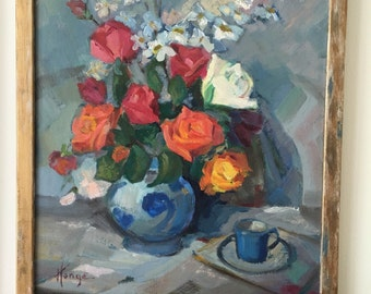 Oil Painting by French Artist Julien Henge Floral Still Life Blue and White Porcelain and Roses