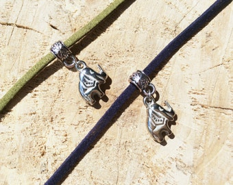 Thin Suede Choker   Navy Leather Choker   Charm Necklace   Tibetan Silver Elephant Choker   Elephant Charm   Zoo Pendant   Army green choker