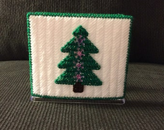 Handmade Plastic Canvas Napkin Holder-Christmas Tree-Green and White-Holidays